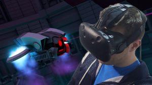 Robots Realidad Virtual con gafas en juego marcianitos