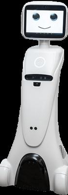 Robot Funny Promociones blancol con pantalla como cara sonriente